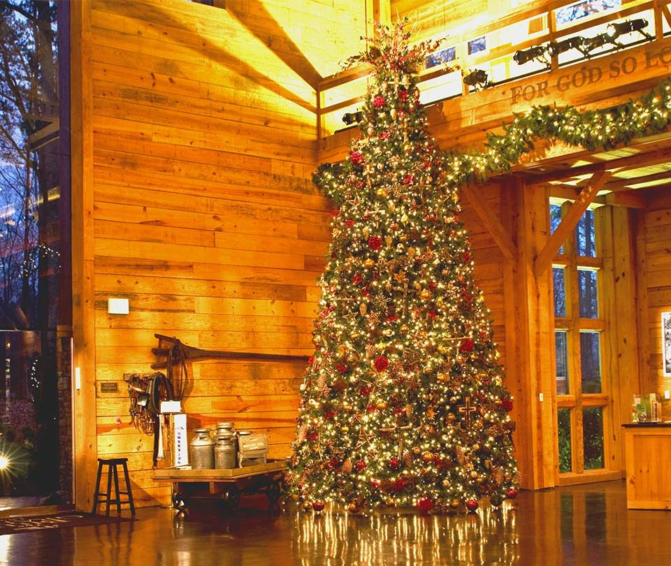 Giant Commercial Christmas Tree with Traditional Decor