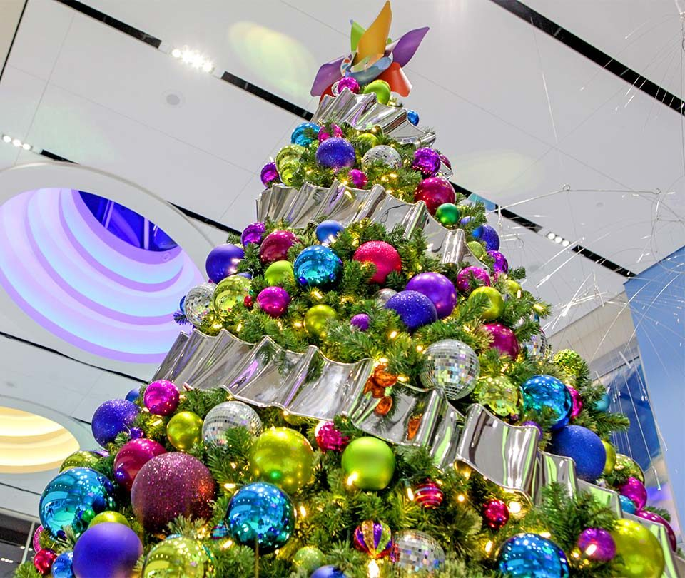 Giant Christmas Tree in Hospital with Colorful Ornaments and Ribbon by Studio 25 Decor