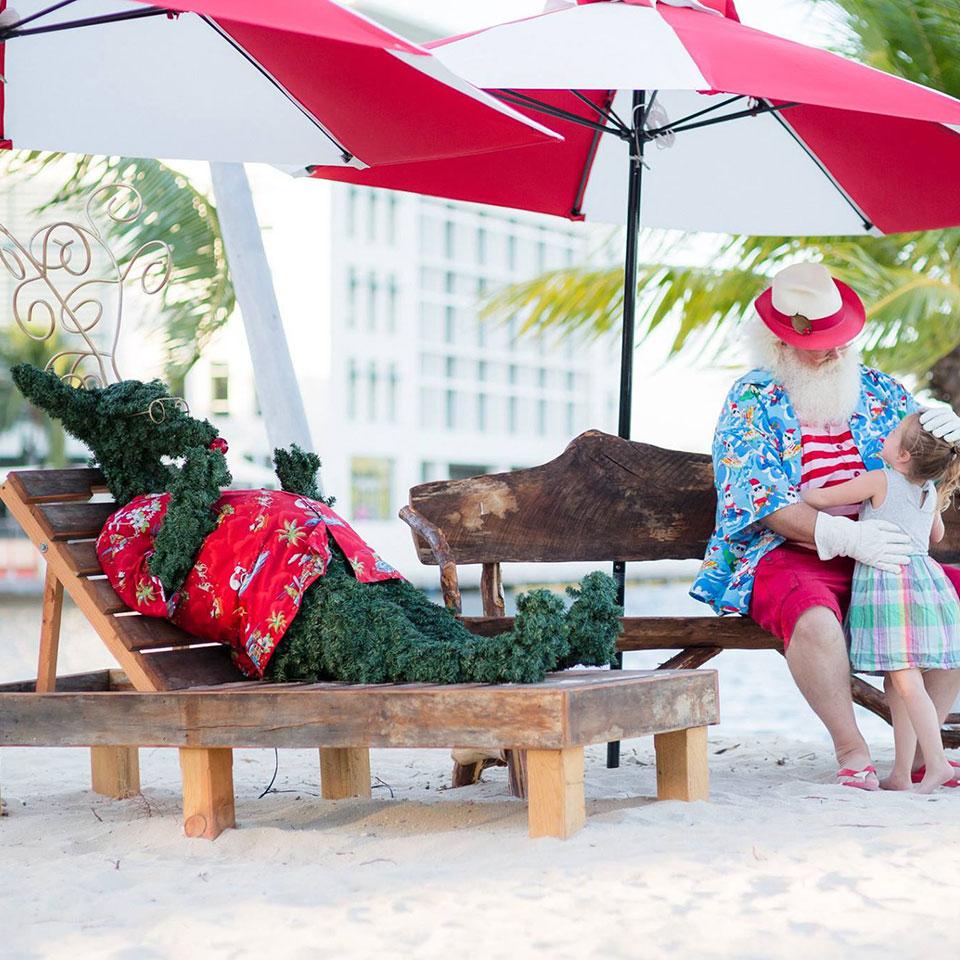 Tropical Santa Photo Backdrop on Outdoor Beach at Retail Center