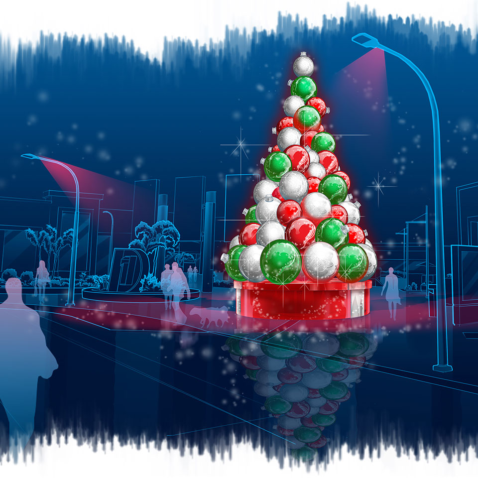 Custom Artwork of Outdoor Giant Christmas Ornament Tree
