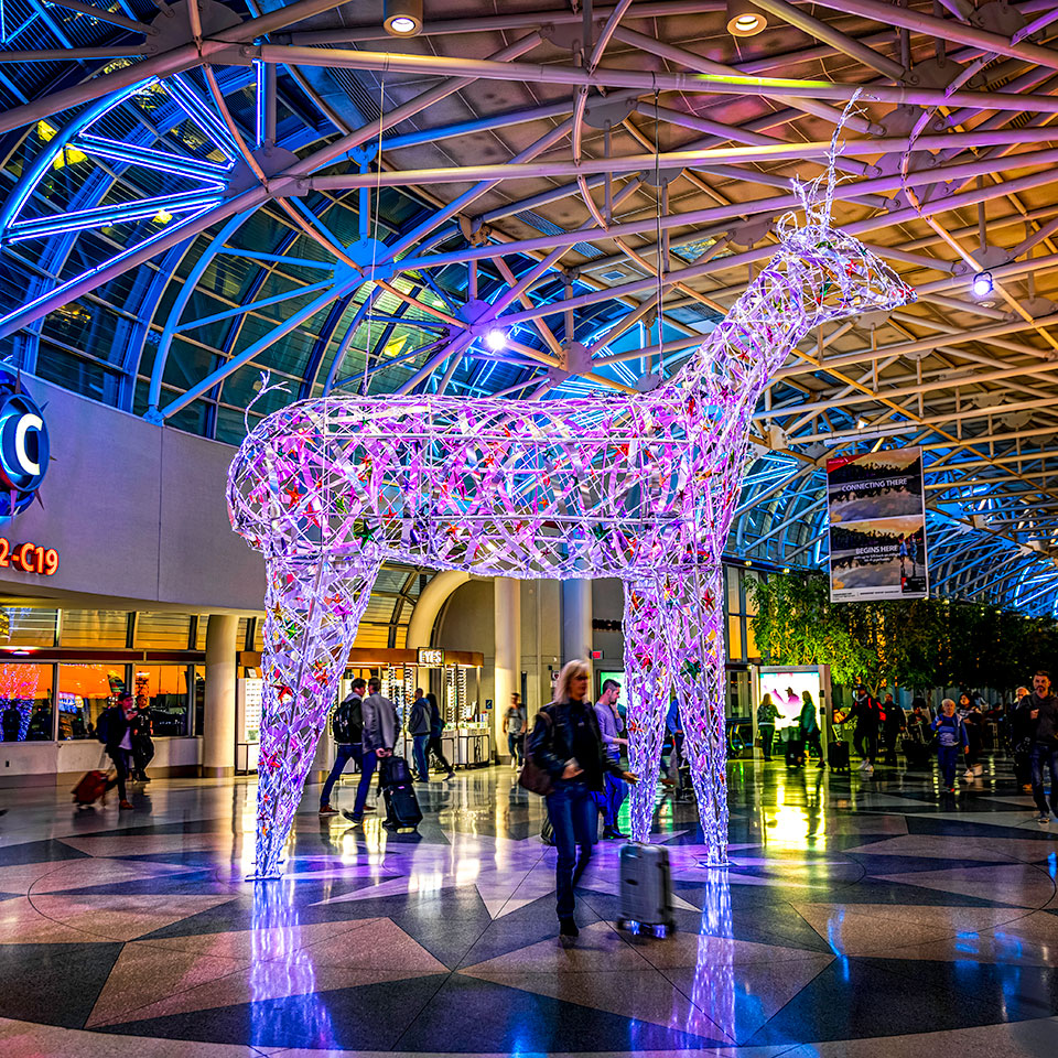Unique Christmas Decor Installation with Giant Illuminated Reindeer