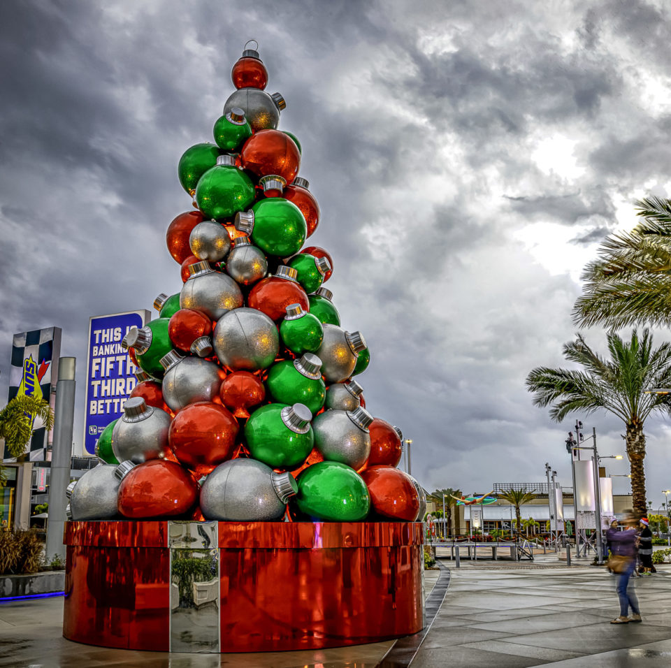 Giant Outdoor Tree with Fiberglass Christmas Ornaments on Custom Package Tree Base