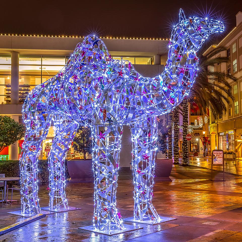 Giant Illuminated Metal Camel Art Installation